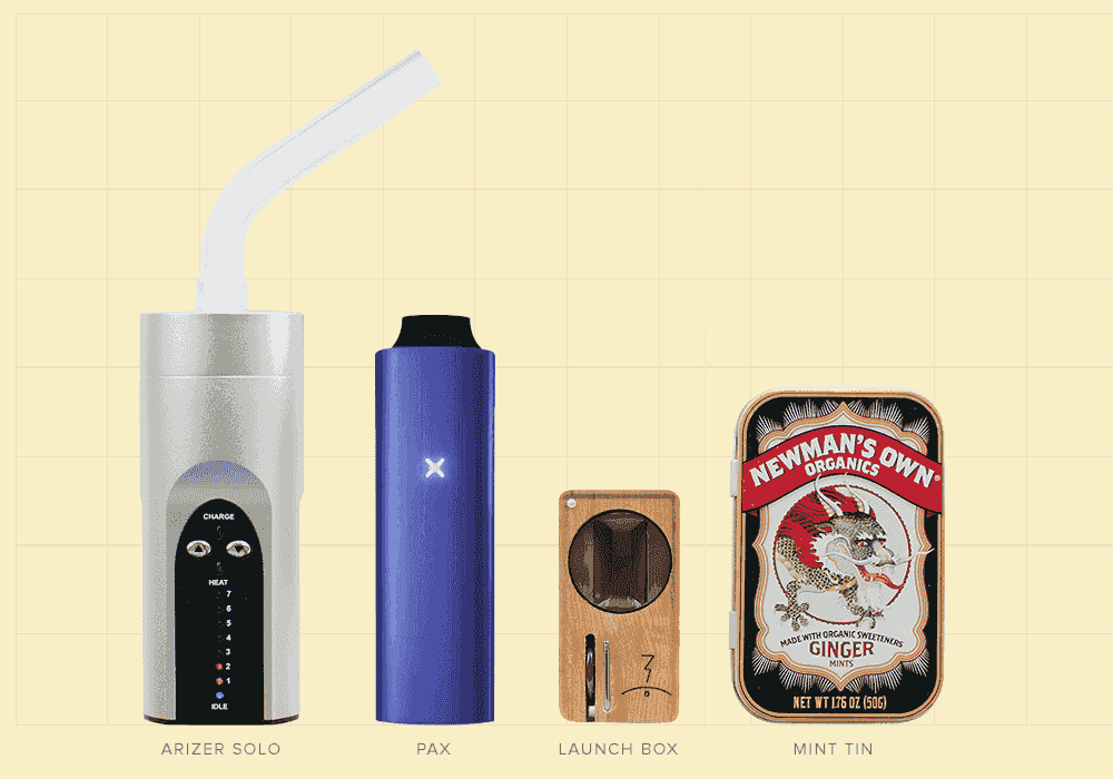 comparing Arizer Solo, Pax, Magic Flight and an Altoids mint tin for size reference