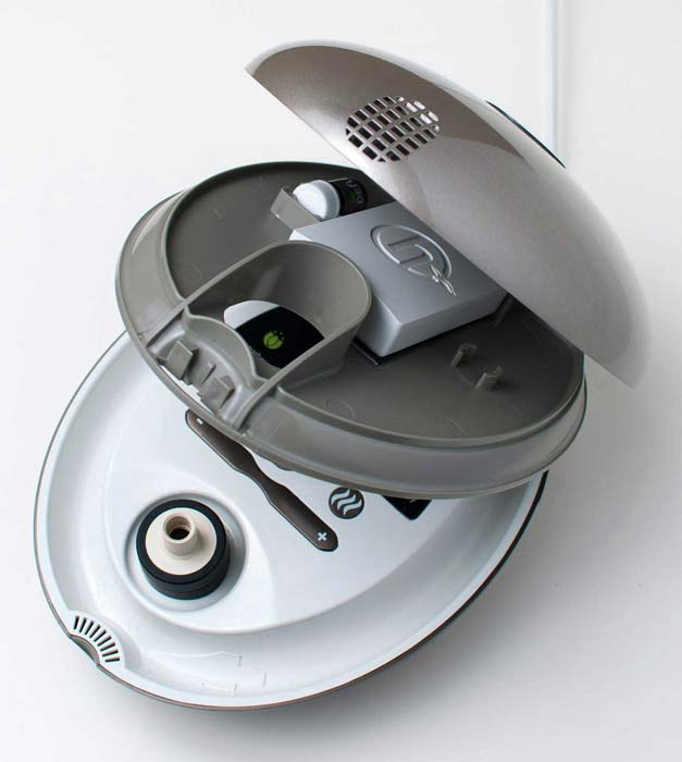 The Herbalizer Vaporizer, opened up to show the storage compartment and color screen.