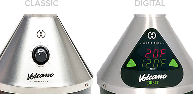 comparing the Volcano vaporizers: Classic's analogue rotary knob as compared to the Volcano Digit's LED digital display and buttons